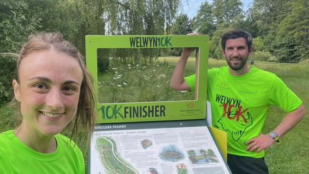Hannah and Matthew Frank from Garden City Runners in the Welwyn 10K.