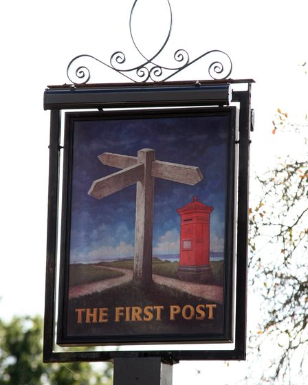 The Pear Tree renamed as 'The First Post' for filming of The World's End in Welwyn Garden City.