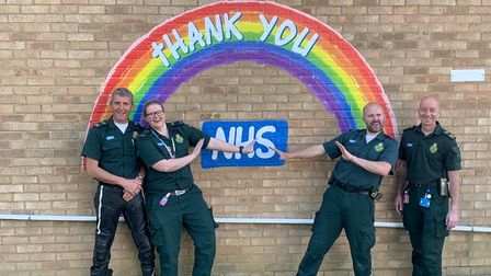 Ambulance staff in St Ives were thanked during the pandemic.
