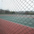 Closed tennis courts in Battersea Park, London during England's third national lockdown to curb the