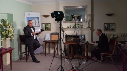 Gez Chetal and magician Paul Martin hosted a virtual Thetford Business Awards from the Thomas Paine Hotel