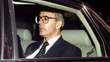 Outgoing British Prime Minister John Major leaves in his car 02 May, the counting center in Saint I