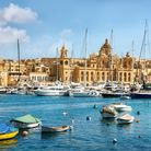 Panoramic view of town and harbour. Valletta. Malta