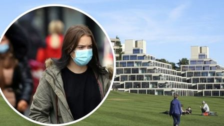 Student in mask at UEA