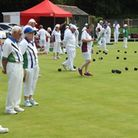 Honiton bowlers welcome the Devon team