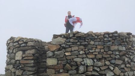 Tara Haines at the top of Scafell Pike