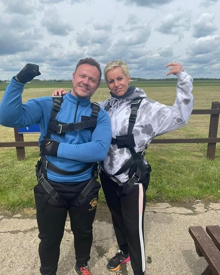 Lucy and Adam Thompson, from Mulbarton, before their skydive