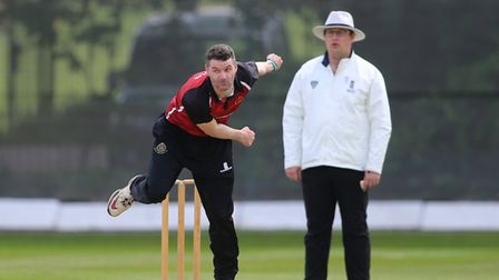 Joel Hughes of NMCC during North Middlesex CC vs Hampstead CC, Middlesex County League Cricket at P