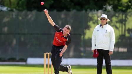 Joel Hughes of NMCC during North Middlesex CC vs Hampstead CC, Middlesex County League Cricket at Pa