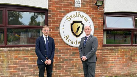 Glenn Russell, executive headteacher at Stalham Infant and Junior schools, with North Norfolk MP Duncan Baker