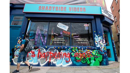 Netflix's Shadyside Videos in Shoreditch High Street, promoting the new Fear Street moviesbased on RLStine's books