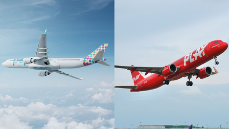 """A montage: Two planes - One is in Flypop livery, the other is red and reads """"Play"""""""