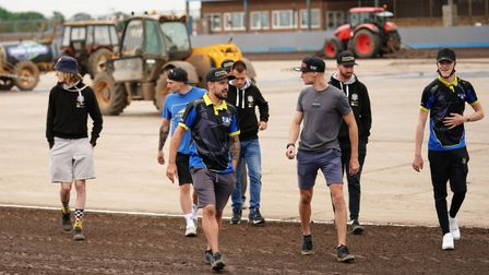 Witches riders on a track walk ahead of the meeting.
