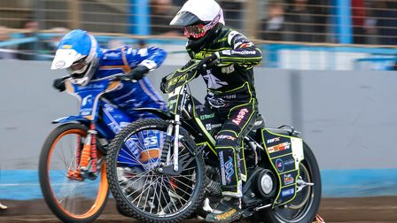 Danny King, who enjoyed a fine meeting at Lynn, inside Lewis Kerr in heat three.