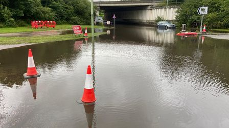 Suffolk police report that the A12 underpass at Capel St Mary has been closed due to flooding.