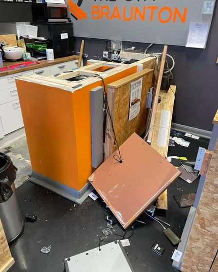 The safe, both tills and two charity collection tins were cleared out and the front counter was badly damaged