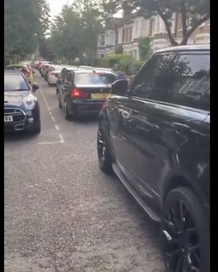 Traffic gridlock on Summerfield Avenue in Queen's Park on July 5 at 7.50am