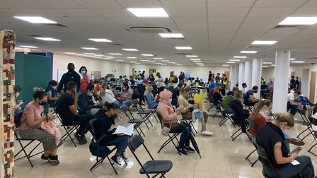 Crowds await their vaccine at the Central Mosque of Brent's Super Saturday event