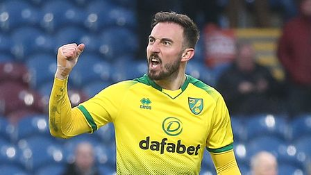 Josip Drmic of Norwich celebrates scoring his sides 2nd goal during the FA Cup match at Turf Moor, B