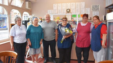 Carole Gorrod (centre) at her retirement at the weekend.