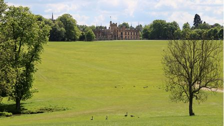 Knebworth Park with Knebworth House in the distance.