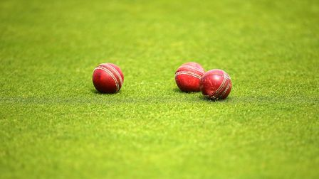 Cricket balls lay on the turf during anets session