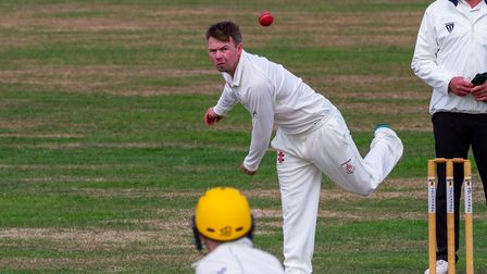 Hatherleigh captain Mark Lake in bowling action