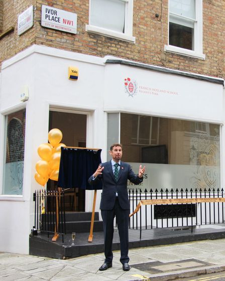 Charles Fillingham gives a speech at the opening of Francis Holland School's new classics building