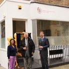Dr Peter Jones helps staff from Francis Holland School in Regent's Park to open their new classics building