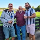 Ray Easy with his sons Martyn and Scott at his beloved Garden Walk, the home of Royston Town FC