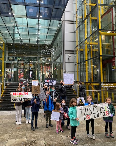Children from Yerbury Primary School staged a protest outside M&S HQ in Paddington