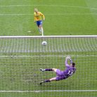 Torquay United's Matt Buse sees his penalty saved by Hartlepool United goalkeeper Bradley James to e