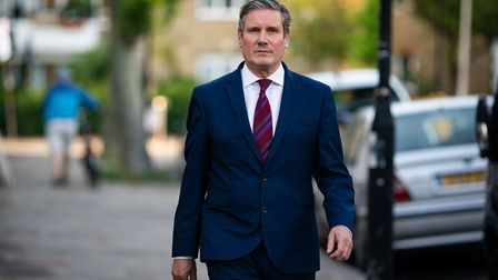 Labour leader Sir Keir Starmer issues a statement outside his home in north London. Photograph: Aaro