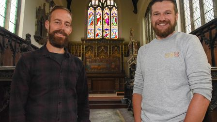 Neil Forkes, from Forkes Stained Glass Ltd, and Mark Wilson, from Norwich Historic Churches Trust, u