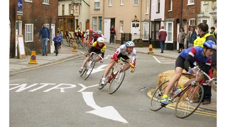 Riders going around a bend in the Woodbridge Cycle Race in 1993