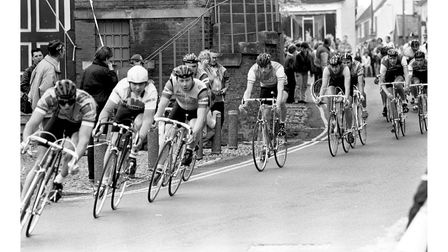 Cyclists in the Woodbridge town races in 1988