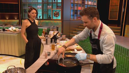Emma Willis watches Harry Judd onCooking With The Stars.