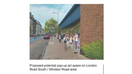 Proposed potential pop-up art space on the London Road South/Windsor Road area.