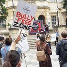 Protestors gathered outside the Redbridge Town Hall on Monday to protest