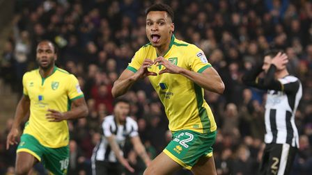 Jacob Murphy of Norwich celebrates scoring his sides 1st goal during the Sky Bet Championship match