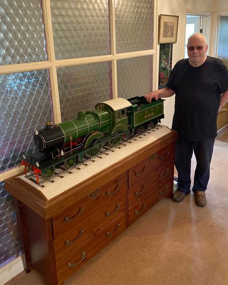 Current owner Mick Cadd pictured with the Claud Hamilton model locomotive