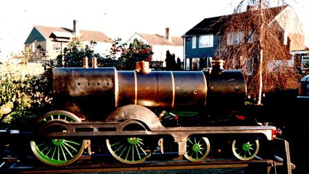 The Claud Hamilton model locomotive in its unfinished state before it was sold by John Knights, from Spixworth, in 1986