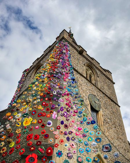 The flower tower at St Margaret of Antioch Church in Barley