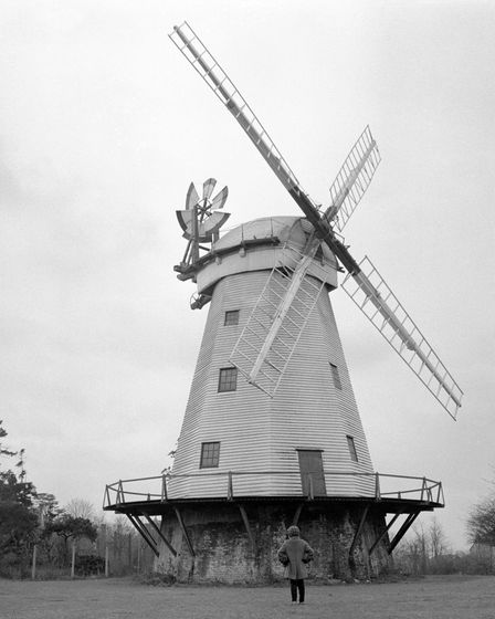Time stands still for this giant windmill at St Mary's Lane, Upminster, Essex. It often stops the t