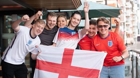England fans getting excited for the match against Denmark Picture: Sarah Lucy Brown