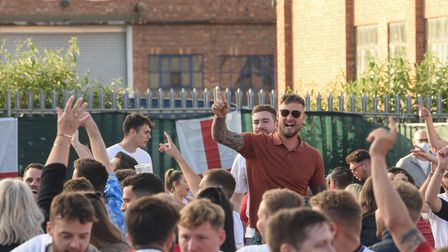 Fans at The Arena in Sprowston getting ready for the England v Denmark Euros match. Picture: Daniell