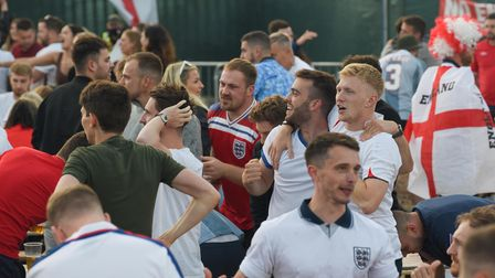 Fans at The Arena in Sprowston celebrating England's goal against Denmark. Picture: Danielle Booden