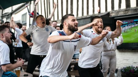 Fans celebrate England's first half equaliser in the semi-final against Denmark