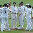 Brett Hutton of Nottinghamshire celebrates taking the wicket of Nick Browne during Essex CCC vs Nott