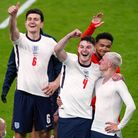 England's Phil Foden and Declan Rice celebrate winning the UEFA Euro 2020 semi final match at Wemble